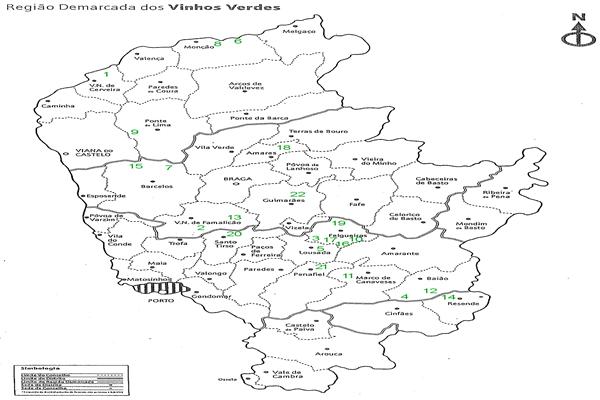 Mapa da Região assinalado com a localização das vinhas a Concurso